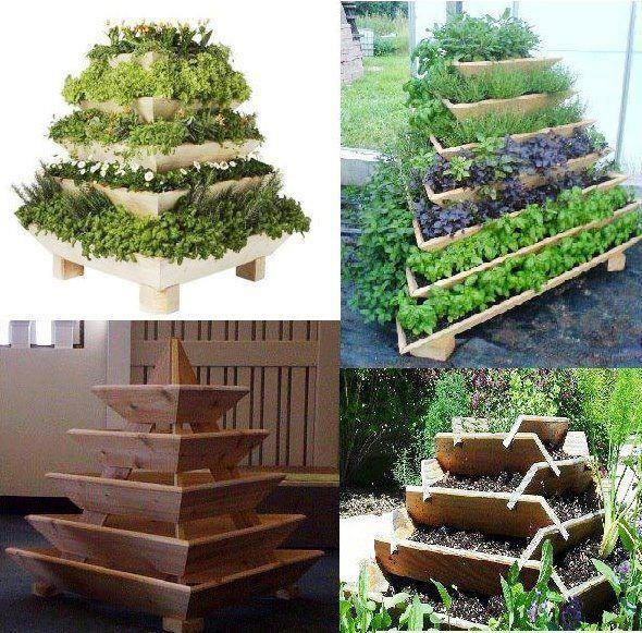 Build a vertical garden pyramid tower garden pinterest for Vertical garden tower