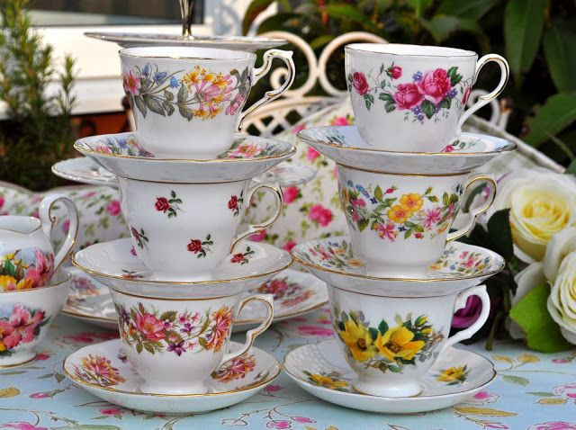 Vintage china teacups with floral patterns