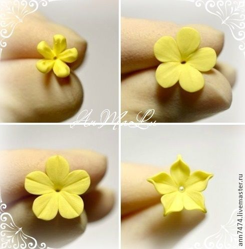 Цветы из глины своими руками фото пошагово