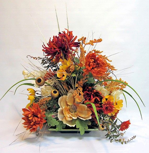 Fall silk flower arrangement with mixed orange gold and for Autumn flower decoration