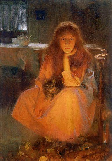 """""""Fire-fancies"""" by Arthur Hacker (ca 1890)"""