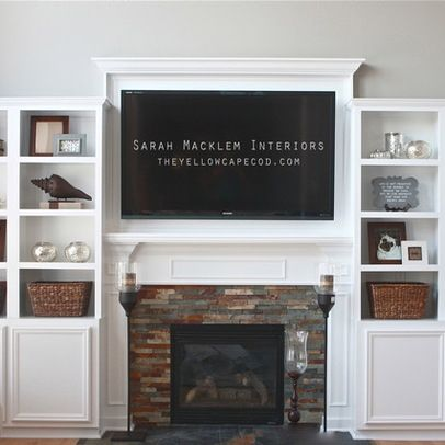 built in fireplace with bookshelves idea