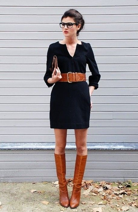 Super cute!  Black dress with boots - simple and cute @Cate Nuanez Nuanez Drury just get some big glasses, girl, and this is YOU!