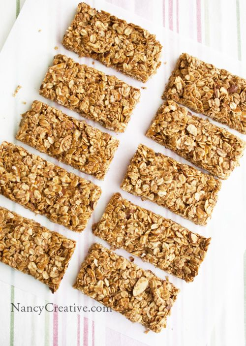 Crunchy Honey Almond Granola Bars | All About Breakfast | Pinterest