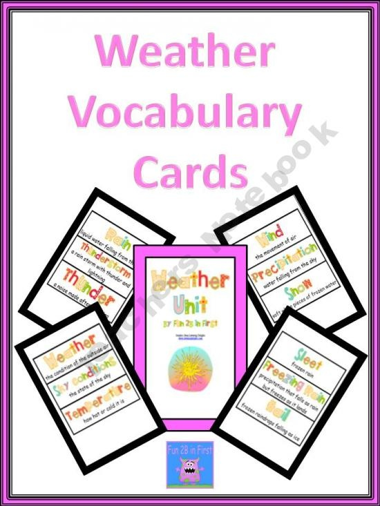 Weather vocabulary cards i would use these to help my students learn