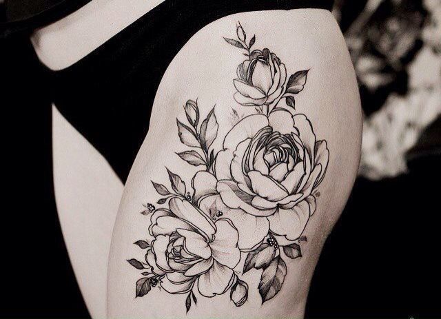 Тату на ноге для девушек цветы эскизы черно