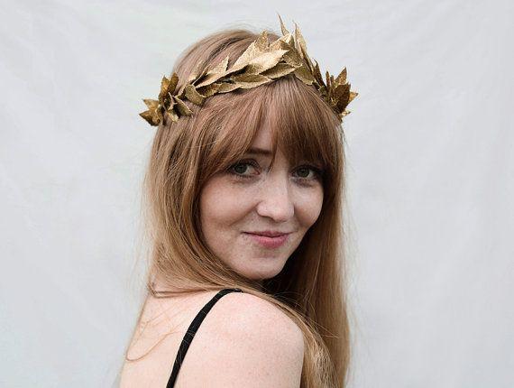 Gold Leaf Headband. Gold Leaf Crown, Mardi Gras, Headpiece ...