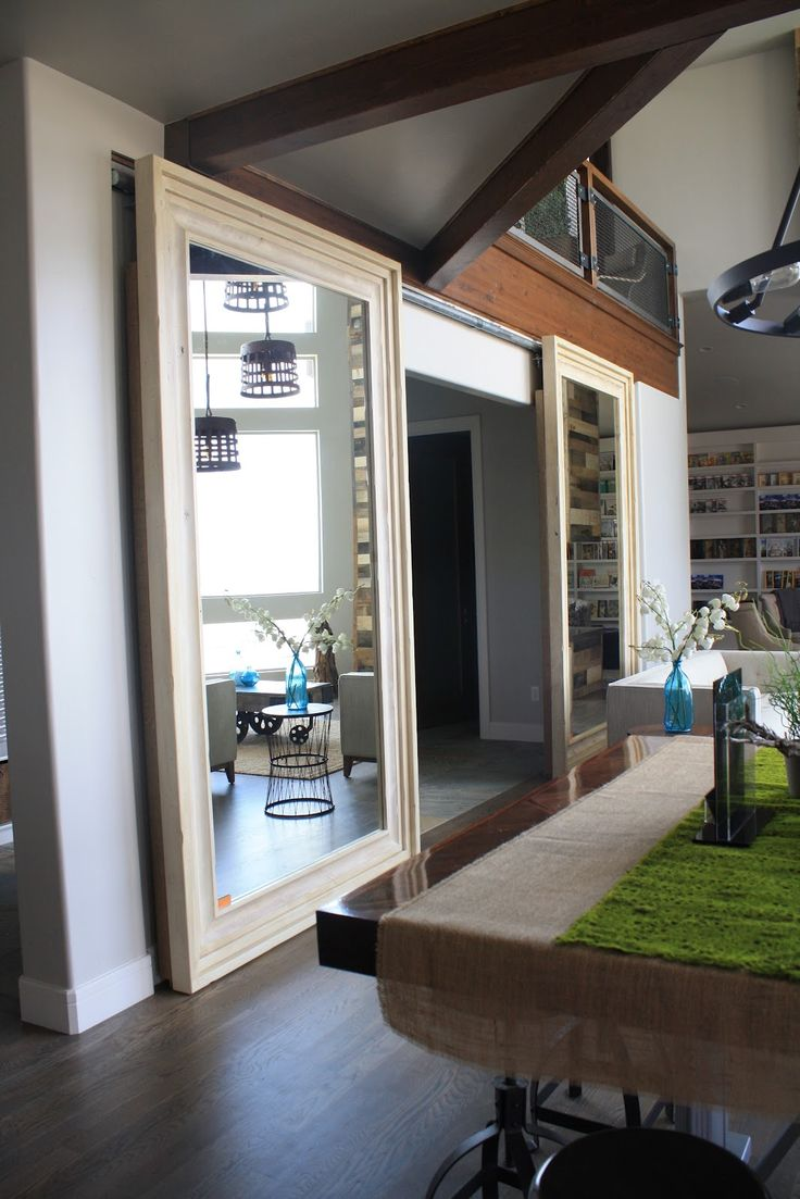 Sliding doors that are mirrors rooms and spaces pinterest for Mirrored barn door