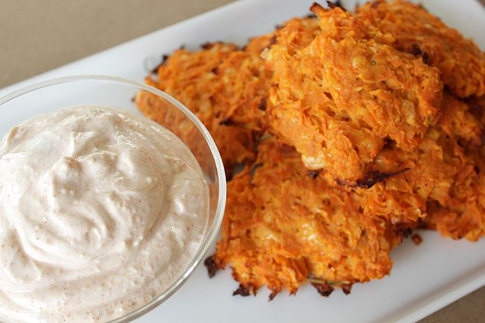 Sweet Potato Cakes & Smoky Yogurt Dip #snackrecipe #corriinthekitchen