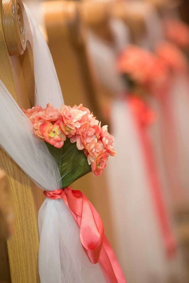 Coral pew bows jennifer ryan pinterest - Bow decorations for weddings ...