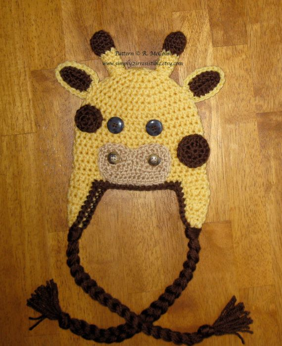 Crochet Hat Pattern Baby Giraffe Beanie Hat : Giraffe Hat - Crochet Pattern 30 - us or uk Terms - Beanie ...
