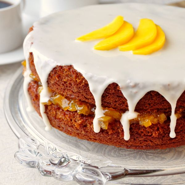 Gingerbread Cake with Mango Vanilla Jam - http://www.rockrecipes.com/