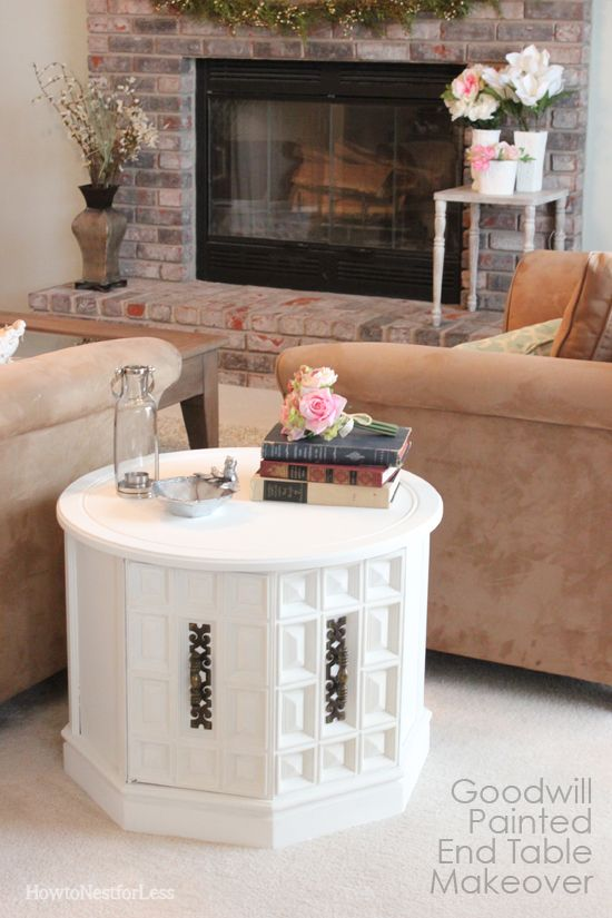 goodwill chalk paint end table makeover   Painting Ideas   Pinterest