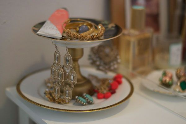 tiered jewelry stand: glue vintage plates together with a short candlestick in between.