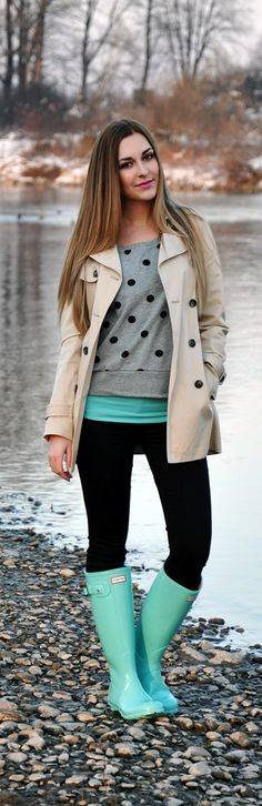 Cute Tiffany Blue Hunter with Grey Polka Dots Sweater