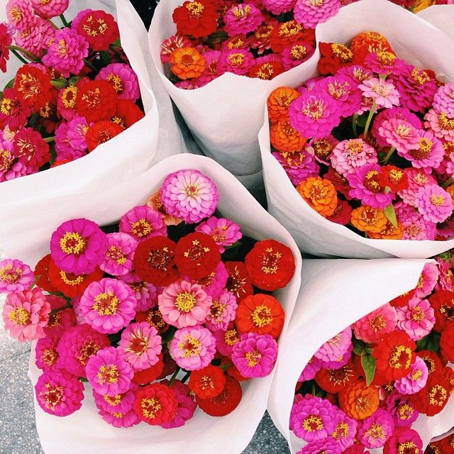 Pink and red bouquets.