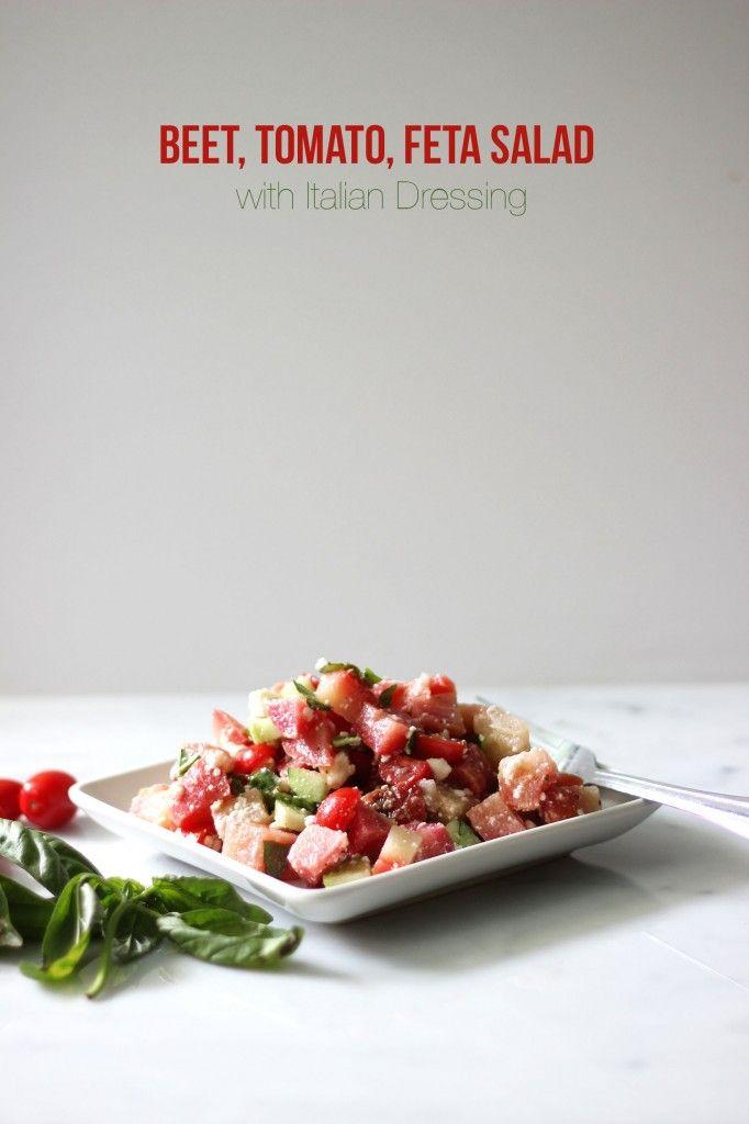 Beet, Tomato, Feta Salad with Italian Dressing - Dietitian Debbie ...