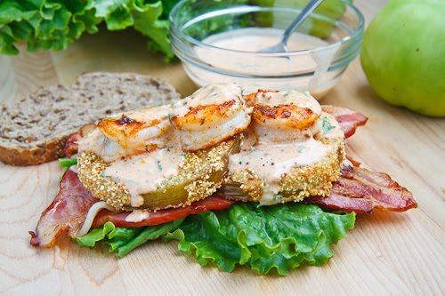 Fried Green Tomato BLT with Shrimp Remoulade http://www.closetcooking ...