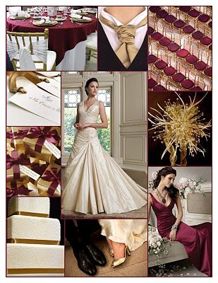 Wedding colors to go with champagne gown ...........I like the cranberry bridesmaid dress