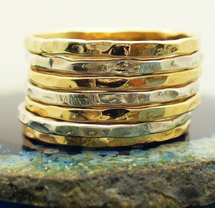 Hammered sterling silver 12 kt gold filled 7 band stack ring set
