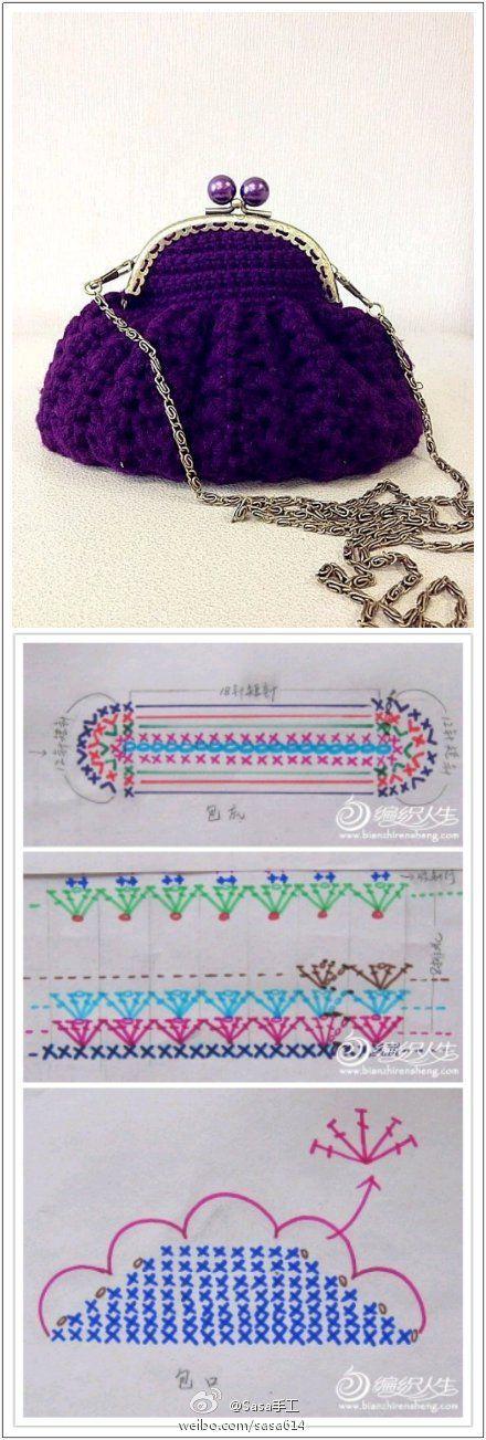 Crochet Bag - Chart 4U // hf crochet Pinterest