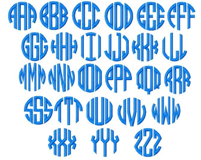 Circle monogram font embroidery design best