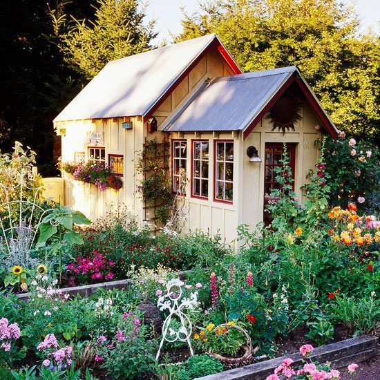 Carefree cottage style garden shed barns sheds chicken for Bhg greenhouse