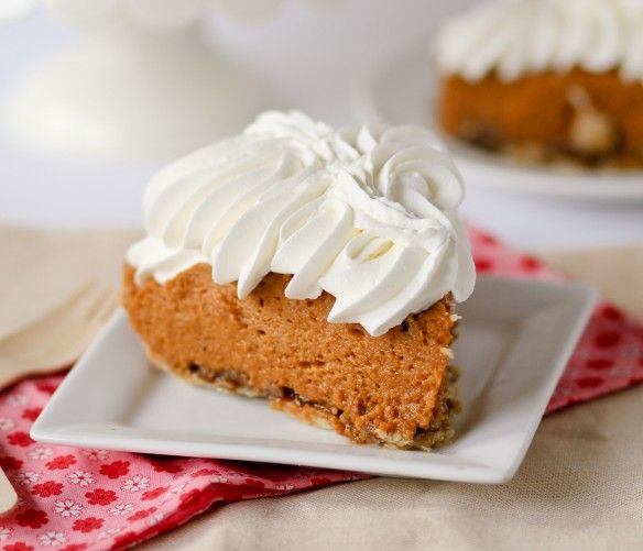 Pumpkin Praline Pie The praline layer is on the bottom, rather than on ...