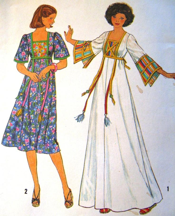 Bohemian Sewing Patterns. Tunic Top Boho Peasant Sundress Simplicity ...