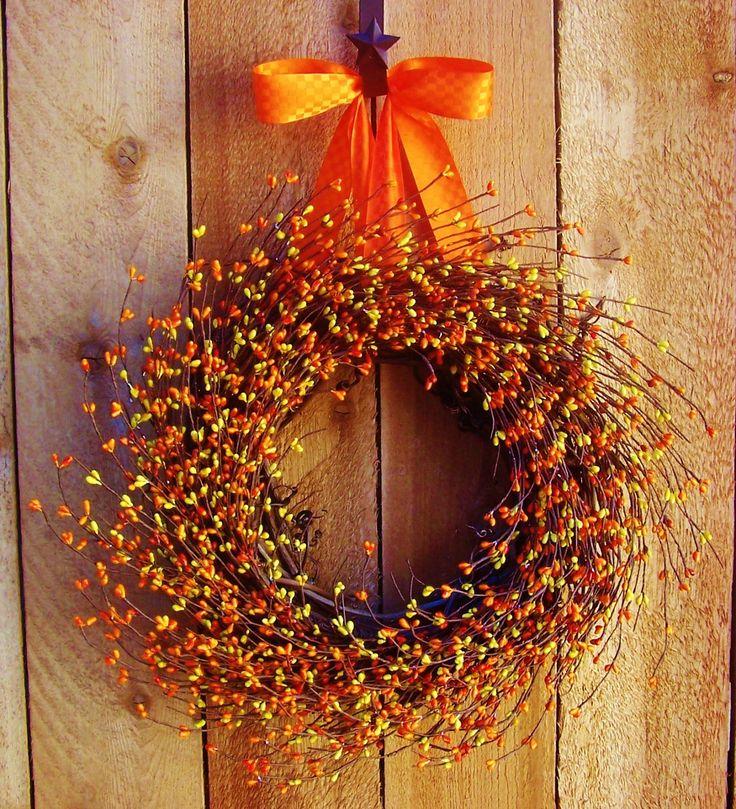 Fall Wreath Juicy Orange Berry Door Wreath Fall Winter