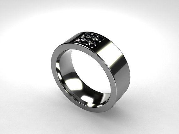 Black diamond ring, Titanium wedding band, men39;s black diamond ring