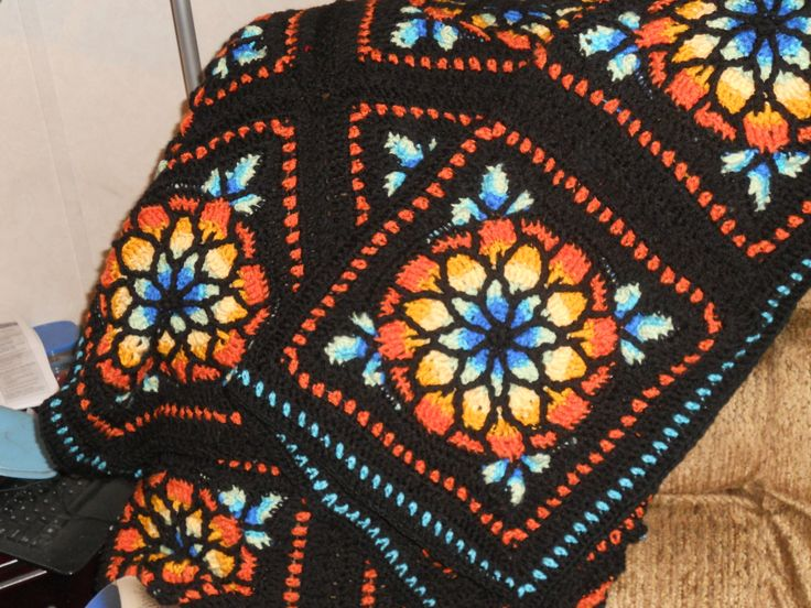 Free Crochet Pattern Stained Glass Afghan Pakbit For
