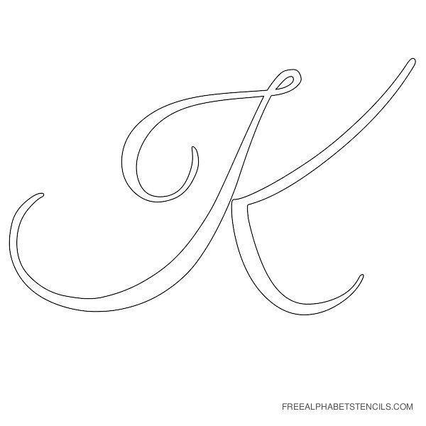cursive letter alphabet stencil k templates mixed media crafts pinterest