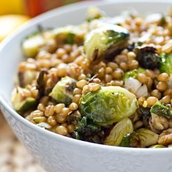Yum - Savoury. Lemony Wheat Berries with Roasted Brussels Sprouts.