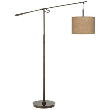 woven burlap bronze balance arm floor lamp y4975 2w555 lampsplus. Black Bedroom Furniture Sets. Home Design Ideas