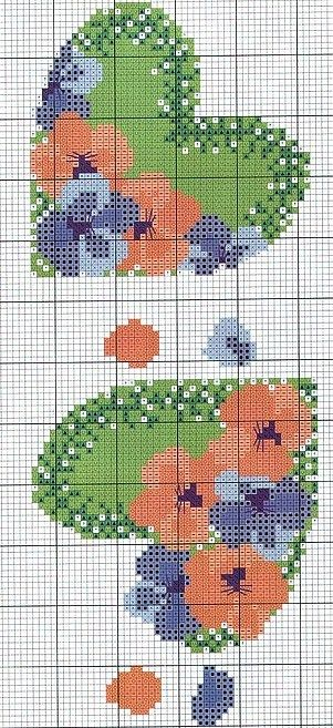 Cross-stitch Hearts chart... no color chart available, just use pattern chart as your color guide.. or choose your own colors...