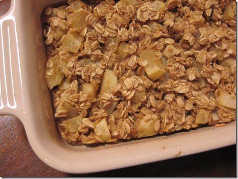 Baked apple pie oatmeal. Awesome Fall breakfast.