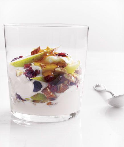 greek yogurt. sliced pear. dried cherries/cranberries. almonds. maple ...