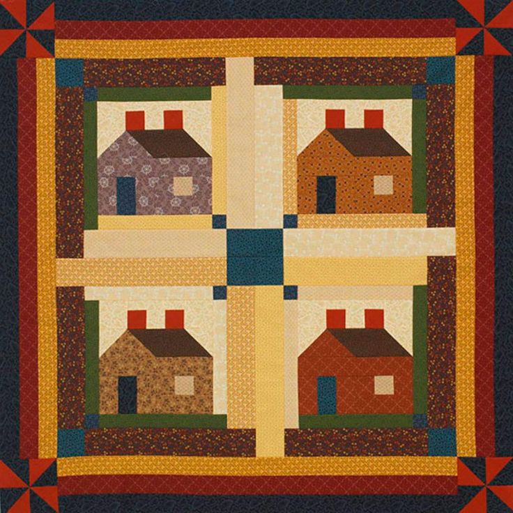 Quilting Designs For Log Cabin Blocks : Sew classic Log Cabin blocks to create a welcoming wall hanging. This project uses harvest-color ...