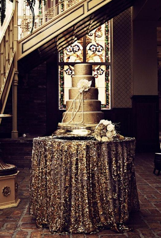 Gold Sequin Cake Table Wedding Idea Wedding Ideas Pinterest