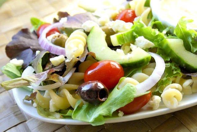 Greek Salad with a Creamy Dressing Recipe This was inspired by the Med ...