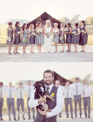 Bridemaids vs. Groomsmen; The groom has a dog in his party - wedding photos idea