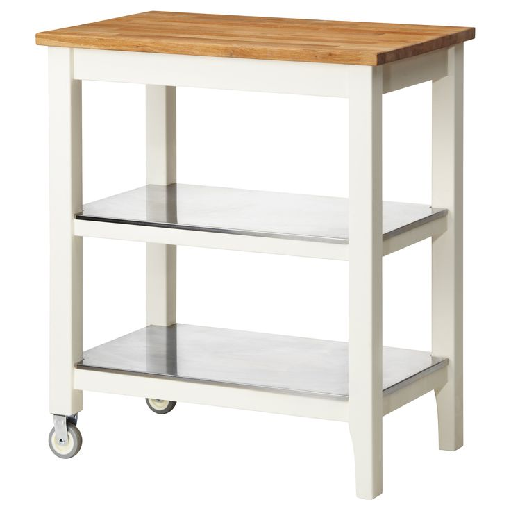 Stenstorp kitchen cart white oak for Microwave carts ikea