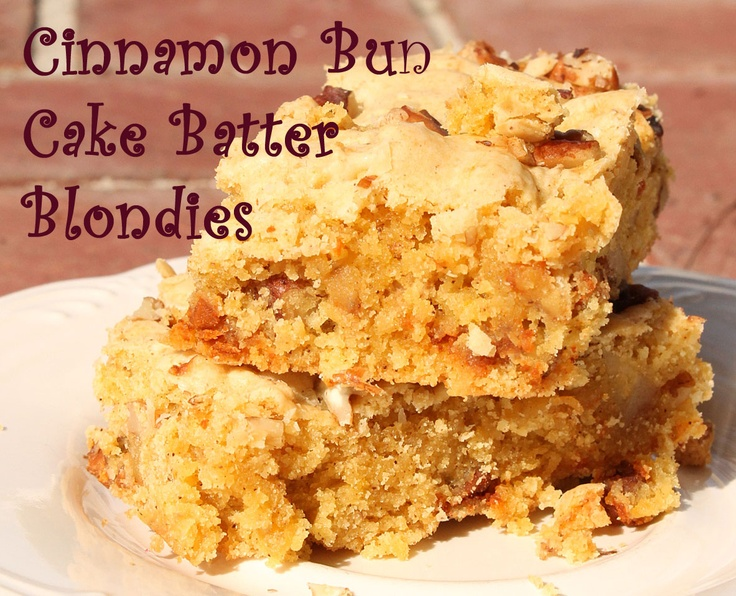 Cinnamon Bun Cake Batter Blondies | Sweets | Pinterest