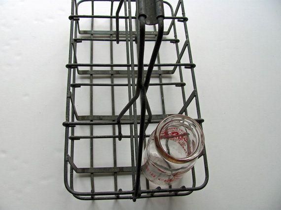 Vintage milk bottle carrier metal 8 quart sections wine wire basket c - Wire wine bottle carrier ...