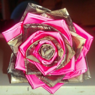 """A rose made of duck tape. Type in """"duck tape roses"""" in YouTube and there are tons of videos on how to make them."""