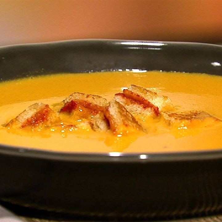 ... Recipe | Carla Hall's Yellow Tomato Soup With Grilled Cheese Croutons
