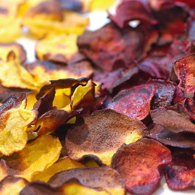 Oven Roasted Beet Chips, using golden and red beets...absolutely ...