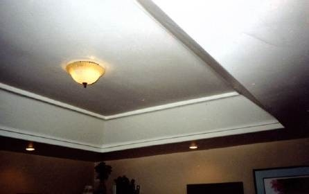 tray ceiling for hiding ductwork pipes and wiring in basement old