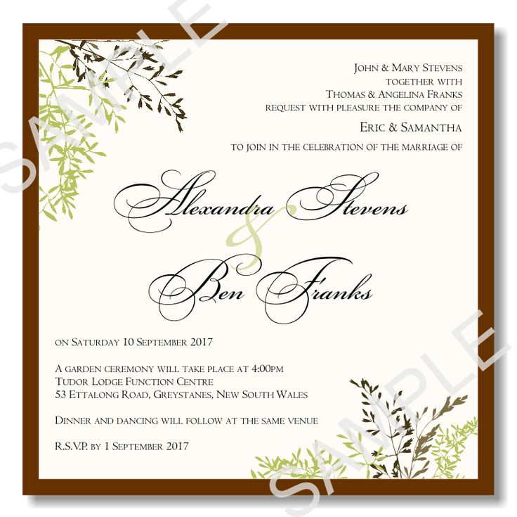 Wedding Invitation Wording: Wedding Invitation Template